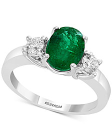 Gemstone Bridal by EFFY® Emerald (1-1/2 ct. t.w.) & Diamond (3/8 ct. t.w.) Engagement Ring in 18k White Gold