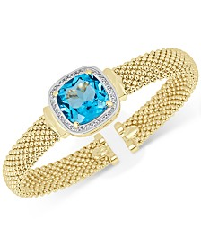 Swiss Blue Topaz (12-1/2 ct. t.w.) & White Topaz (1/3 ct. t.w.) Mesh Bracelet in 14k Gold-Plated Sterling Silver