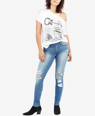 True Religion Curvy-Fit Ripped Pull-On Jeans
