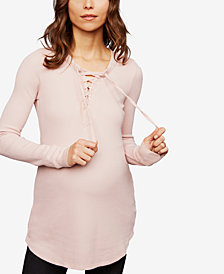 Splendid Maternity Lace-Up Top