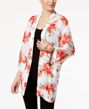 Ny Collection Floral-Print Kimono