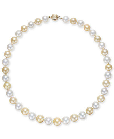 Cultured Golden South Sea Pearl & Cultured White South Sea Pearl (10-12mm) Strand Necklace