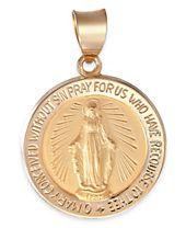 Miraculous Medal Pendant in 14k Gold