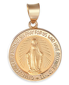 Miraculous Medal Pendant in 14k Gold