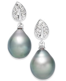 Cultured Tahitian Black Pearl (10mm) & Diamond (1/8 ct. t.w.) Drop Earrings in 14k White Gold (Also in White Cultured Pearl)