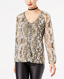 I.N.C. Petite Python-Print Lace-Up Blouse, Created for Macy's