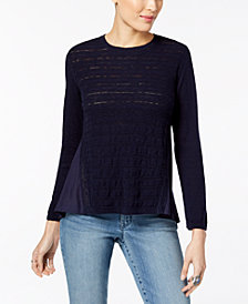 Style & Co Petite Cotton Pointelle-Knit High-Low Sweater, Created for Macy's