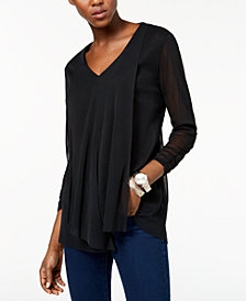 Alfani Petite Draped-Front Top, Created for Macy's