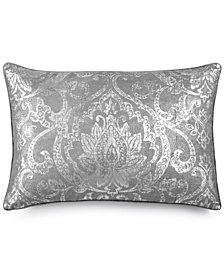 "LAST ACT! Lacourte Antigua Faux-Linen Metallic-Print 16"" x 24"" Decorative Pillow, Created for Macy's"