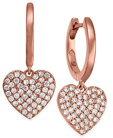 Rose Gold-Tone Pavé Heart Drop Earrings