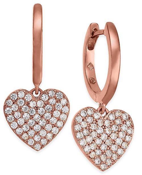 124259dc7058c ... kate spade new york Rose Gold-Tone Pav eacute  Heart Drop Earrings ...