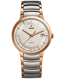 Rado Men's Swiss Automatic Centrix Two-Tone PVD Stainless Steel Bracelet Watch 38mm