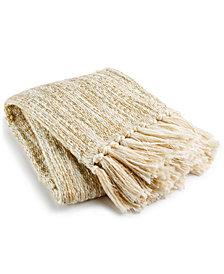 "LAST ACT! Lacourte Meridian 50"" x 60"" Metallic Throw Blanket, Created for Macy's"