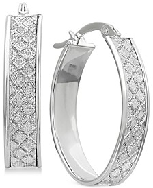 Textured Glittery Hoop Earrings in 14k Gold, White Gold or Rose Gold, 1 inch