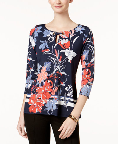 Charter Club Petite Printed Grommet-Keyhole Top, Created for Macy's