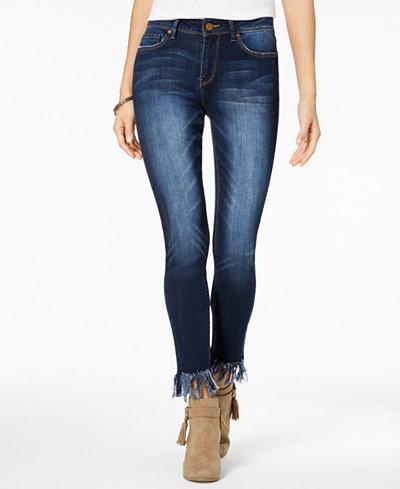 Indigo Rein Juniors' Fringe-Hem Skinny Jeans