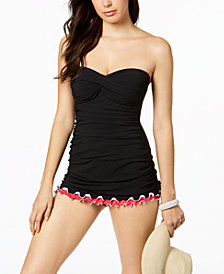 Profile By Gottex Convertible Tummy-Control Ruffled Swimdress