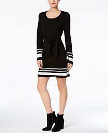NY Collection Petite Contrast-Trim Belted Sweater Dress