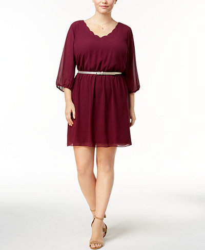 BCX Trendy Plus Size Belted A-Line Dress