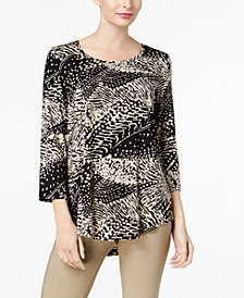 JM Collection Petite Printed High-Low Top, Created for Macy's