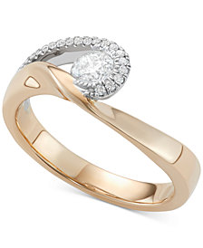 Diamond Two-Tone Swirl Ring (1/2 ct. t.w.) in 14k Gold & White Gold