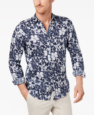Michael Kors Men's Floral-Print Shirt - Casual Button-Down Shirts ...