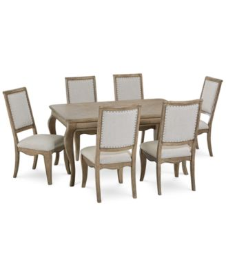 Martha Stewart Bergen Dining Furniture, 7-Pc. Set (Expandable Dining Table & 6 Side Chairs), Created for Macy's