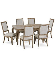 CLOSEOUT! Martha Stewart Bergen Dining Furniture, 7-Pc. Set (Expandable Dining Table & 6 Side Chairs), Created for Macy's