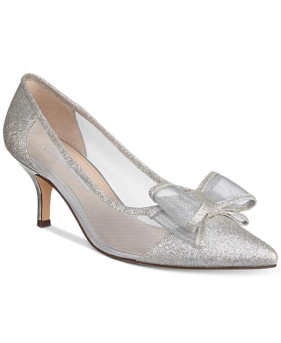 07168a11411 Nina Bianca Mesh Bow Kitten Heel Pumps & Reviews - Pumps - Shoes ...