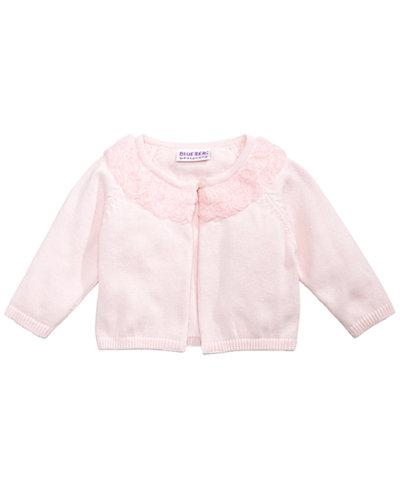 Blueberi Boulevard Pink Rosette Cardigan, Baby Girls