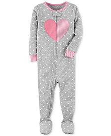 Carter's Heart Dot-Print Footed Cotton Pajamas, Baby Girls