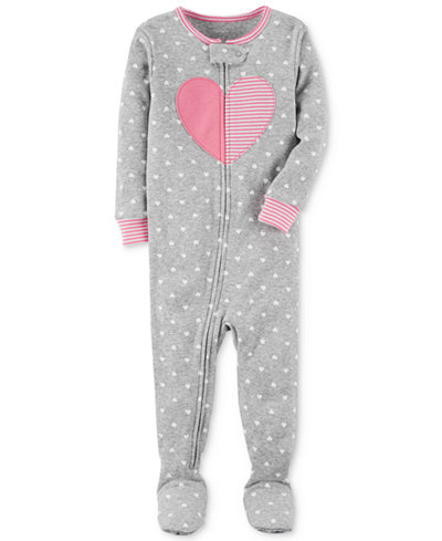 Carter's Heart Dot-Print Footed Cotton Pajamas, Baby Girls