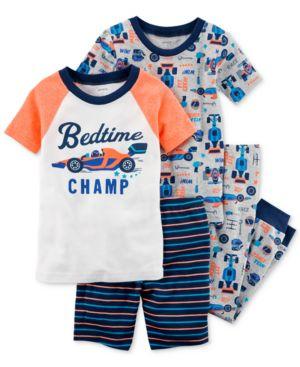 Carter's 4-Pc. Race Car Cotton Pajama Set, Baby Boys 5214861