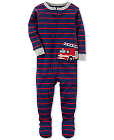 Carter's Firetruck Stripe-Print Footed Cotton Pajamas, Baby Boys