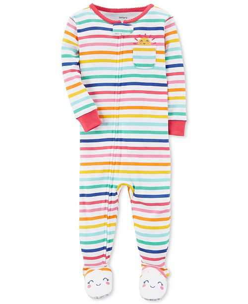 238567e2 Carter's Rainbow Stripe Footed Cotton Pajamas, Baby Girls ...