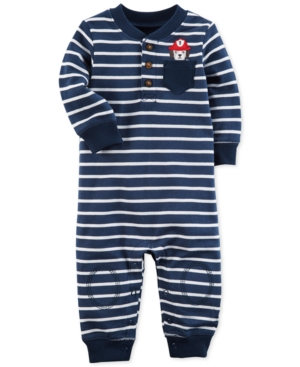 Carters Striped Fire Dog Cotton Coverall Baby Boys (024 months)