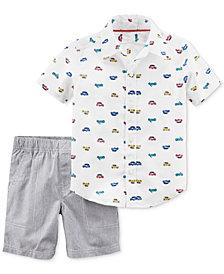 Carter's 2-Pc. Car-Print Cotton Shirt & Shorts Set, Baby Boys