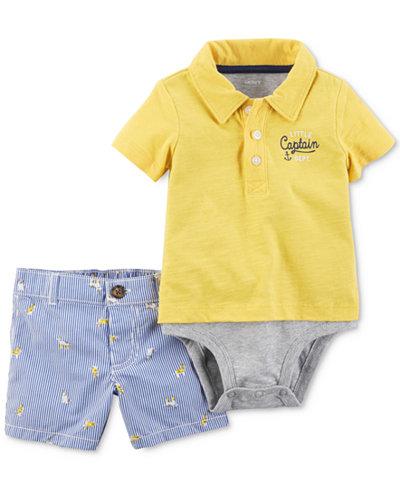 Carter's 2-Pc. Polo-Style Cotton Bodysuit & Shorts Set, Baby Boys