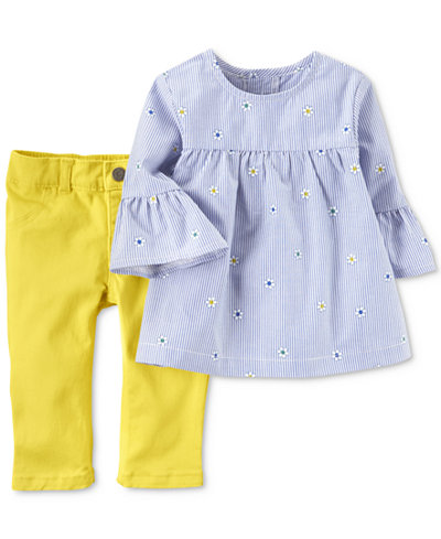 Carter's 2-Pc. Embroidered Tunic & Leggings Set, Baby Girls