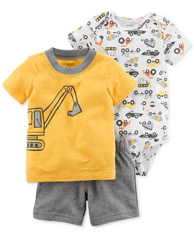 Carter's 3-Pc. Cotton Bodysuit, T-Shirt & Shorts Set, Baby Boys