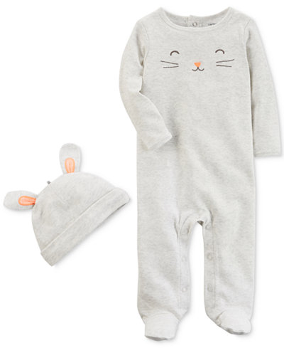 Carter's 2-Pc. Bunny-Print Cotton Coverall & Hat Set, Baby Girls