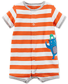 Carter's Monster Striped Cotton Romper, Baby Boys