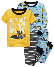 Carter's 4-Pc. Construction-Print Cotton Pajama Set, Baby Boys