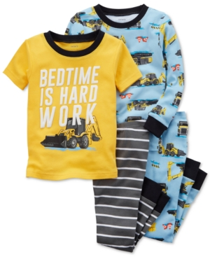 Carter's 4-Pc. Construction-Print Cotton Pajama Set, Baby