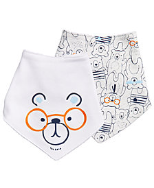 First Impressions Baby Boys 2-Pack Bear-Print Cotton Bibs, Created for Macy's