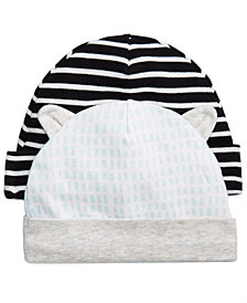 First Impressions 2-Pk. Striped & Printed Cotton Hats, Baby Boys, Created for Macy's