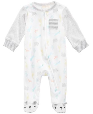 Zoo-Print Footed Coverall, Baby Boys & Girls, Created for Macy's