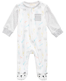 First Impressions Zoo-Print Footed Coverall, Baby Boys & Girls, Created for Macy's