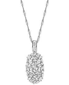 Cubic Zirconia Baguette Cluster Pendant Necklace in Sterling Silver
