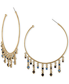 RACHEL Rachel Roy Gold-Tone Blue & Black Stone Hoop Earrings